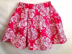Pink damask twirl skirt by ThisNThatByNicolette on Etsy