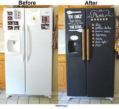DIY Chalkboard Paint Refrigerator Allows You to Write Fun Menu or Shopping Lists. - Home Decor Ideas