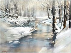 Watercolor landscape forest stream winter snow by Thomas Schaller