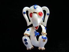 1/2 OFF!  Vintage Trifari 1968 Pet Series Enamel Elephant Figural Pin Brooch