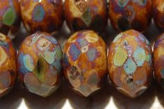 ❥ Czech Glass Beads Picasso Rondelles