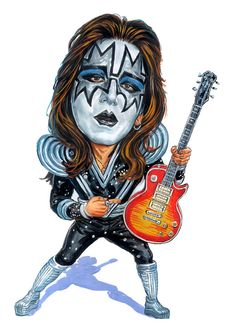 Caricature of Ace Frehley from Kiss Funny Caricatures, Celebrity Caricatures, Cartoon Faces, Funny Faces, Heavy Metal, Famous Guitars, Kiss Art, Ace Frehley, Hot Band