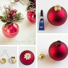 Faire des mini-vases avec des boules de Noël déco table de Noël à faire à la maison