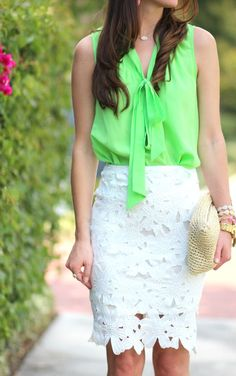 Lime green tie neck Lilly Pulitzer top with a white lace pencil skirt, white perforated heels, straw clutch, and hot pink Kendra Scott earrings Preppy Work Outfit, Preppy Skirt, Preppy Outfits, Preppy Style, Spring Outfits, Cool Outfits, Sunday Outfits, Office Outfits, Office Wear