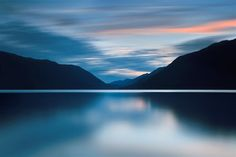 Original art for sale at UGallery.com | Dusk at Lake Crescent by Katherine Gendreau | photography | 36' h x 24' w
