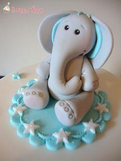 ELEPHANT CAKE TOPPER DECORATION BOYS CHRISTENING/BIRTHDAY HANDMADE PERSONALISED | eBay