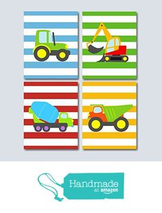 Construction Wall Art, Trucks Kids Wall Art, Transportation Nursery Wall Art, Boy Nursery Wall Art, Trucks Playroom Art- UNFRAMED Set of 4 from Sweet Blooms Decor http://www.amazon.com/dp/B017Y4QW4C/ref=hnd_sw_r_pi_dp_rOxKwb0PNRESM #handmadeatamazon