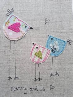 This piece of original textile art / appliqué art will be handmade my me , and gives you a truly unique piece of my work for your home or to give as a gift.  This bird picture depicting Mum and children would make a lovely Mothers Day gift or gift for Mums birthday.  To make this textile picture Ill appliqué various pieces of fabric onto beige linen using a technique called free motion machine embroidery. The quote Mummy and Us is also done in thread using the same technique.  Any frayed...