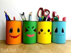 Easy DIY Pokemon Pencil Holder - these are super cute and easy desk tidies and great for back to school. Make them from scratch or use our Free Pokemon Printables. We love Pikachu, Charmanda, Squirtle and Bulbasaur! Pokemon Go Red, Diy Pokemon, Pokemon Room, Diy Pencil, Pencil Crafts, Easy Crafts For Kids, Diy For Kids, Simple Crafts, Summer Crafts
