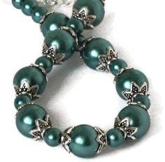 Teal Pearl & Silver Bracelet Wedding Bridal by sweetdreamzdesigns, $8.75