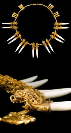 An important Coclé gold necklace of twin-alligator pendants. This rare necklace most likely belonged to a member of the elite. The crested alligator is an important motif throughout Coclé art. The original inserts in this piece were damaged in the tomb's ritual fire and could originally have been carved from sperm whale tooth, manatee rib, shell, or stones such as serpentine, quartz, opal or emerald. | Bonhams - Published: Sotheby's New York 1997