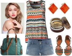 A fashion look from July 2012 featuring AX Paris tops, TALLY WEiJL shorts and Proenza Schouler sandals. Browse and shop related looks. Cute Fashion, Fashion Beauty, Fashion Looks, Fashion Outfits, Fasion, Summer Outfits, Cute Outfits, Ethnic Outfits, Tribal Prints