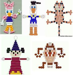 Daisy and Donald Duck and Sorcerer Mickey pony bead patterns, and more. Pony Bead Projects, Pony Bead Crafts, Beaded Crafts, Beaded Ornaments, Pony Bead Patterns, Craft Patterns, Beading Patterns, Bracelet Patterns, Stitch Patterns