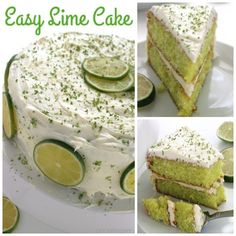 Easy Lime Cake with Cream Cheese Frosting is so simple and tastes amazing. Amazing and flavorful cake. Key Lime Desserts, Healthy Apple Desserts, Lemon Desserts, Delicious Desserts, Lime Recipes, Fruit Recipes, Lime Cake Recipe, Strawberry Lemonade Cupcakes, Key Lime Cake