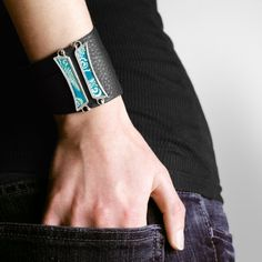 Items similar to Black Leather Wrap Cuff with Turquoise Dragon Silk by Shi Studio on Etsy Leather Cuffs, Soft Leather, Black Leather, Dragon Pattern, Silk Brocade, Craft Sale, My Design, Turquoise, Traditional Chinese