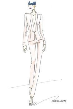 An illustration from the capsule collection inspired by Armani's fall Privé show.