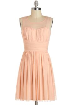 Gathering of Gals Dress - Pastel, Sheer, Mid-length, Pink, Solid, Ruching, Daytime Party, A-line, Sleeveless
