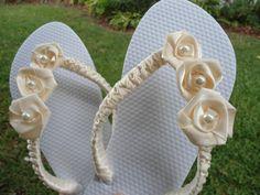 Bridal Shoes / Ivory Bridal Flip Flops / by AdrianaDosSantos, $40.00