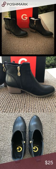 NWB ❤️ Guess Towny Ankle Black Boots Brand New In Box - Size 6 1/2 - Never Worn Black Booties! Too Big for me - I was too late taking these back to exchange for a size 6, so I ended up with 2 pairs! G by Guess Shoes Ankle Boots & Booties