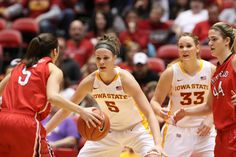 #5 Hallie Christofferson and #33 Chelsea Poppens I Love Cyclone WBB!!  Many happy memories at Hilton cheering them on!