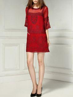 Red Short Sleeve Geometric A-line Mini Dress