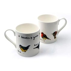 Alice  Shields  A Selection of Garden Birds Bone China Mug : These bone china mugs are made by Alice Shields  All mugs are made in Stoke on Trent with her own illustrated transfer decal individually applied to each mug from Alice's studio in Bristol.