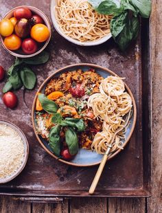 Brown GOODMINZ Bolognese with Spaghetti and Cashew 'parmesan'.