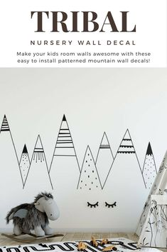 Look great on a wall and make the perfect addiction to our kids room! #mountains #walldecals #stickers #monochrome #black #kidsroom #decor #scandinavian #woodland #black #ad