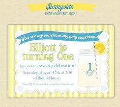You Are My Sunshine /   lemonade Blue Boy's Birthday Party Invites - Printed Set - Any Age