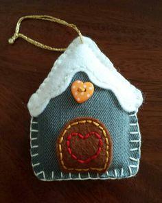 Denim & Felt Gingerbread House... Christmas Decoration...