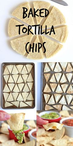 Baked Tortilla Chips – so easy, much healthier and great for dipping or making nachos. Baked Tortilla Chips – so easy, much healthier and great for dipping or making nachos. Tortilla Sana, Tortilla Nachos, Flour Tortilla Chips, Baked Nachos, Flour Tortillas, Chips From Tortillas, How To Make Chips, How To Make Nachos, Tortilla Wraps