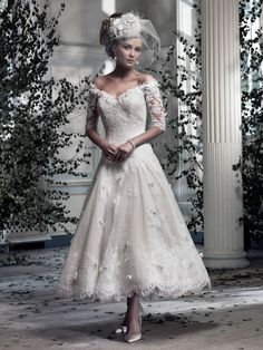 Bridal Gowns: Ian Stuart Tea Length Wedding Dress with Tip of the Shoulder Neckline and No Waist/Princess Seams Waistline Ian Stuart, Tea Length Wedding Dress, Tea Length Dresses, Tea Length Skirt, Dresses With Sleeves, Short Sleeves, Lace Dresses, Dress Lace, Half Sleeves