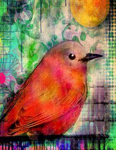 Pájaro en un alambre 5 x Arte Ave 7 imprimir archivo grabado sol al atardecer jardín pájaro flores mixta acuarela collage
