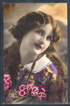 PV108-ART-DECO-HIGH-FASHION-FLAPPER-LADY-FUR-COAT-KITSCH-Tinted-PHOTO-pc