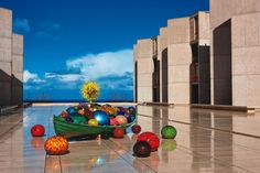 Float Boat, The Sun, Red Reeds - Chihuly at the Salk, The Salk Institute, La Jolla, California