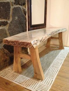 DIY furniture 25 Handmade Wooden Furniture Ideas And Designs - Page 15 of 25 - Home & Garden Sphere Rustic Log Furniture, Live Edge Furniture, Rustic Bench, Handmade Furniture, Rustic Wood, Diy Furniture, Furniture Websites, Furniture Outlet, Furniture Stores