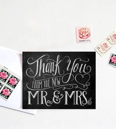 Thank You Cards | From Mr. & Mrs. Chalkboard Art Thank You Cards by Lily & Val on Scoutmob Shoppe