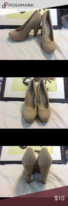 Nude Platform Heels Brand new nude platform heels. Cork detailing. Faux suede upper material. In perfect condition. Shoes Platforms