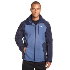 Big & Tall Champion Colorblock 3-in-1 Systems Hooded Jacket, Men's, Size: Xl Tall, Blue