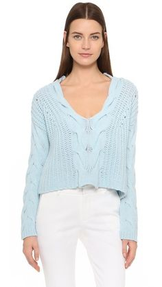 Tess Giberson Exaggerated Cable V Neck Sweater