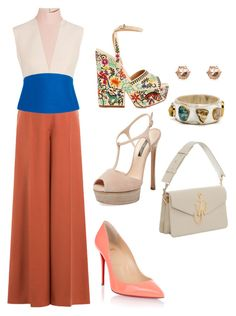 """Saturday Dress-up!!!"" by la-harrell-styling-co on Polyvore featuring Casadei, Christian Louboutin, Sergio Rossi, Valentino and Delpozo"