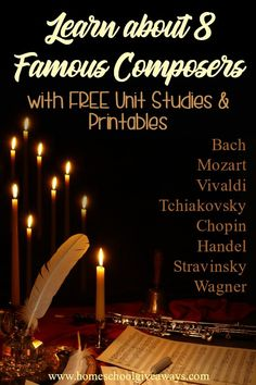 Learn About 8 Famous Composers with FREE Unit Studies and Printables - Homeschool Giveaways Music Activities For Kids, Music Lessons For Kids, Music Lesson Plans, Music For Kids, Movement Activities, Piano Lessons, Preschool Activities, Giveaways, Music Education