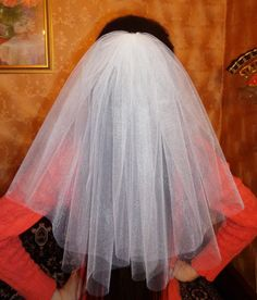 Bachelorette Party Veil 2 Tier White Middle Length Bridal Shower