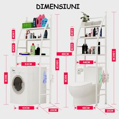 Bathroom Space Saver Storage Shelf Over Toilet With Roll Holder And Towel Hook,Kitchen Washing Machine Storage Tier _ {categoryName} - AliExpress Mobile Version - Cheap Storage Shelves, Bathroom Storage Shelves, Storage Spaces, Washing Machine In Kitchen, Kitchen Space Savers, Shelves Over Toilet, Wall Key Holder, Towel Hooks, Roll Holder