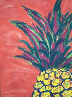 Pineapple painting by lottie Ananasmalerei von Lottie Pineapple Painting, Pineapple Art, Pineapple Drawing, Summer Painting, Fruit Painting, Diy Canvas, Canvas Art, Canvas Paintings, Canvas Ideas