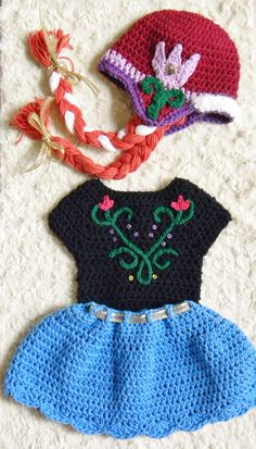 Crochet Disney's Frozen Inspired Anna's Photo Prop Set. Hat with braids, Embroidered top and Skirt. Free Shipping!