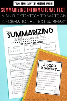 Do your students need help summarizing informational text? Use the TAAMIO strategy to write great informational text summaries. Summary Writing, Nonfiction Text Features, Interactive Journals, 6th Grade Reading, Word Families, Language Arts, English Language, Main Idea, Middle School