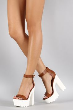 Wild Diva Lounge Two-Tone Leatherette Ankle Strap Lug Sole Platform Heel