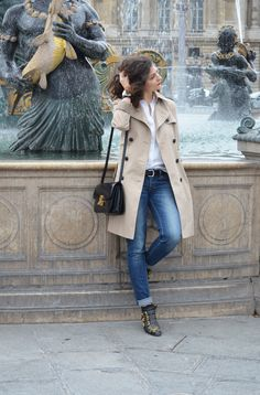blue jeans + white shirt + trench + Chloe susanna + Celine Classic :: modern classics
