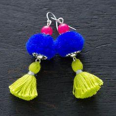 pom pom earrings indian - Google Search